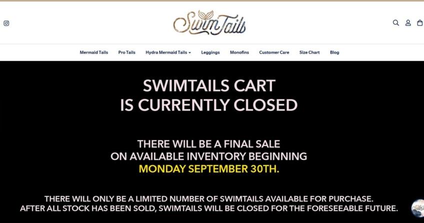 Swimtails.com macht dicht. Ab dem 30. September gibt es aber noch einen Ausverkauf. (Screenshot: Swimtails.com)