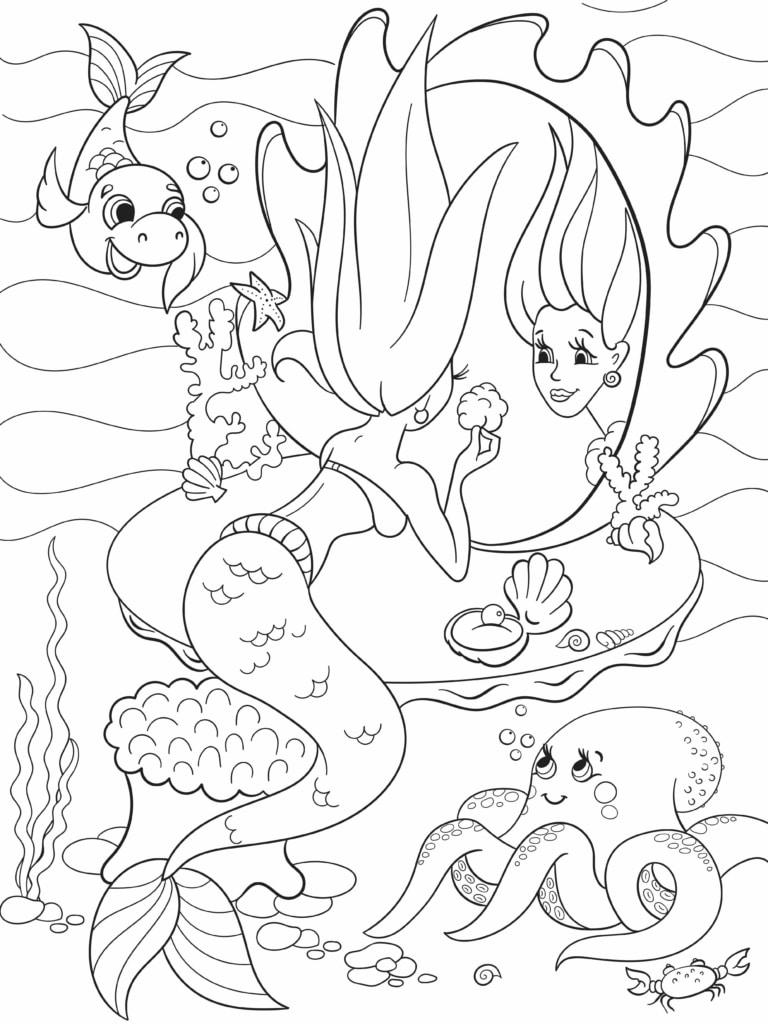 Ein Meerjungfrauen-Bild zum Ausmalen. Einfach den Link klicken! (Depositphotos)